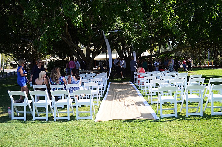 Denise and Sami's nuptials.Ceremony under the fig tree